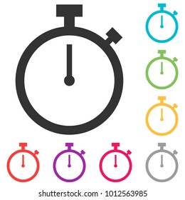 stopwatch vector icon. Silhouette stopwatch. Stopwatch isolated on white background