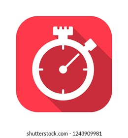 stopwatch vector red icon in modern flat style isolated. Symbol stopwatch is good for your web design.