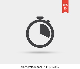 Stopwatch vector web icon isolated on white background, EPS 10, top view