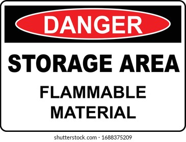 Storage Area Flammable warning Sign