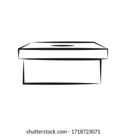 Storage Box Outline. Voting Ballot Box. Election Box. Vector Illustration Background