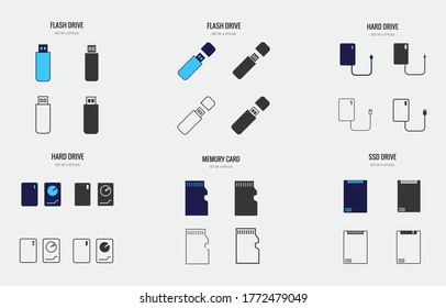 storage devices vector icon hard drive ssd drive flash drive memory card vector icon