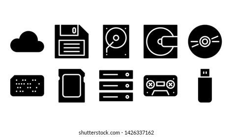 storage glyph icon symbol set
