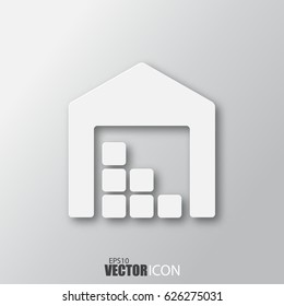 Storage icon in white style with shadow isolated on grey background. For your design, logo. Vector illustration.