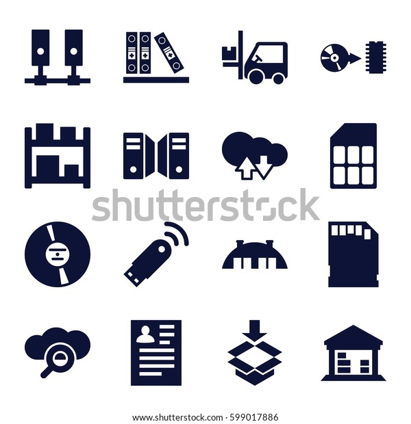 storage icons set. Set of 16 storage filled icons such as resume, forklift, cargo barn, box, binder, CD, disc, memory card, barn, usb signal, server, storage