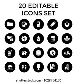 Storage icons. set of 20 editable filled storage icons such as barrel, barn, fragile cargo, arrow up, cargo barn, cd. best quality storage elements in trendy style.