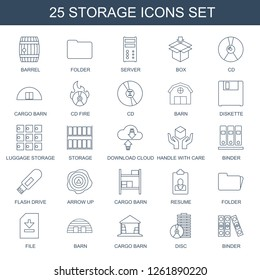 storage icons. Trendy 25 storage icons. Contain icons such as barrel, folder, server, box, CD, cargo barn, CD fire, barn, diskette, luggage storage. storage icon for web and mobile.