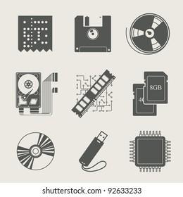 storage information set of icon vector illustration