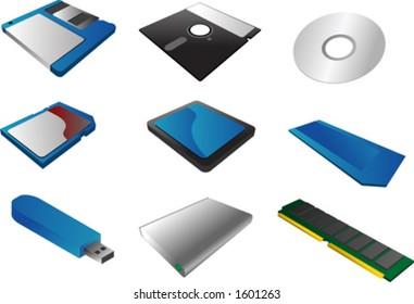 "Storage media, vector illustrations, 3d isometric style: 3 1/2"" floppy diskette, 5 1/4"", cd, sd card, cf card, memory stick, usb pendrive, external hard disk, ram"