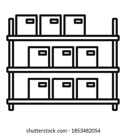 Storage parcel rack icon. Outline storage parcel rack vector icon for web design isolated on white background