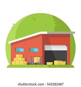 Storage space on a green background with open gate boxes pushcart. 3d Flat vector illustration.