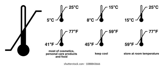 Storage temperature range symbol. Black thermometer icon with diagonal line and degrees sign value. Some standard versions and legend included.