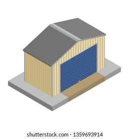 Storage unit closed and padlocked in isometric vector design