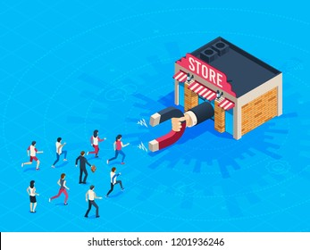 Store attraction customers. Market magnet attracted loyal customer. Inbound marketing attract clients shopping . Buying shop business attractive shoppers business vector isometric concept