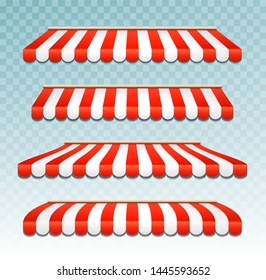 Store awning shop canopy. Store tent red striped roof front view. Restaurant, grocery or cafe awning street umbrella.