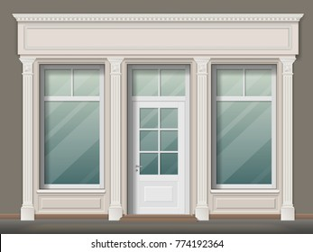 Store or boutique front with big window and column. Shop facade, vector realistic detailed illustration.