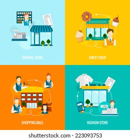 Store buildings flat icons set with sweet fashion general shop mall vector illustration