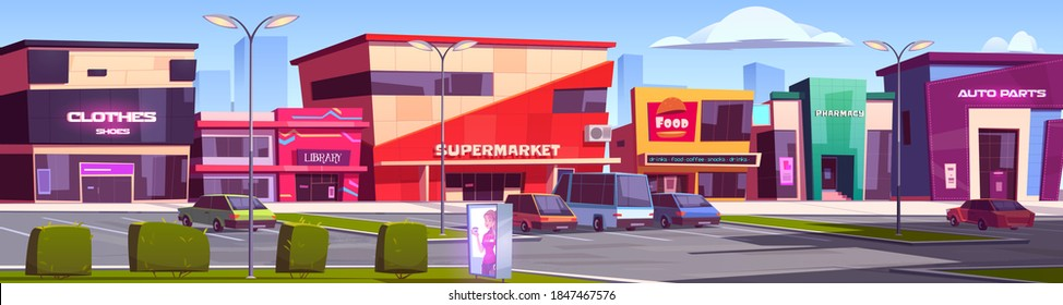 Store buildings, shopping area with parking, clothes shop, supermarket, library, fast food court, auto parts and pharmacy facades. Modern city architecture front exteriors, Cartoon vector illustration