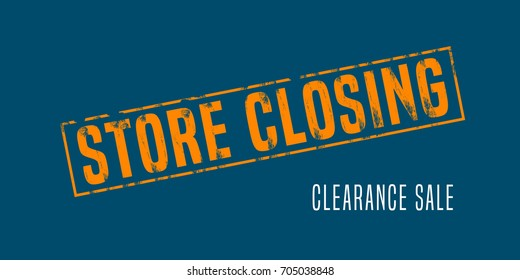 Store closing vector illustration, background with post stamp. Banner, flyer for clearance sale or special prices in the shop