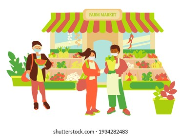 Store facade of farm market African american man sale vagetables to young girl Seller and customer wear gloves and mask and keep social distancing Flat illustration