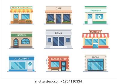 Store facade shop and bank building exterior set