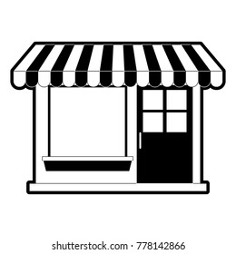 store facade with sunshade in black silhouette