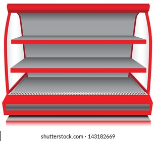 Store fixtures and equipment - open counter refrigerator. Vector illustration.