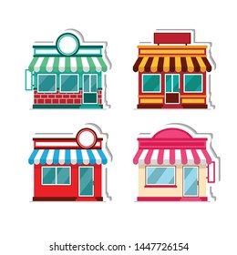 Store front flat vector icon