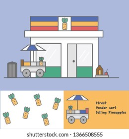Store front on the street. Vector illustration inspired by Asia, Thailand. Food truck selling pineapples, a little house of spirits and popular minimarket in Thailand. Can be used a poster, pattern.