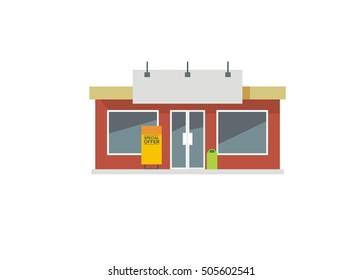 store front, shop simple flat illustration