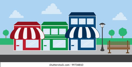 Store front strip mall stores