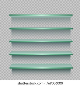 Store glasses business showcase template with shadow on transparent background. Advertising glass panel shelf shop. Sale exhibition interior furniture