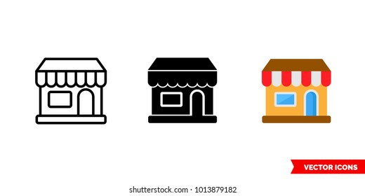 Store icon of 3 types: color, black and white, outline. Isolated vector sign symbol.