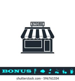 Store icon flat. Black pictogram on white background. Vector illustration symbol and bonus button