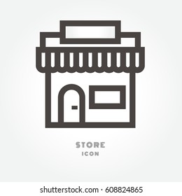 store icon illustration isolated sign symbol thin line for modern minimalistic flat design vector on white background