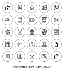 Store icon set. collection of 25 outline store icons with basketball jersey, cart, changing room, box, cardboard, food stand, gift card, hamster, gift icons. editable icons.