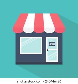 Store icon. Shop icon. Flat design. Vector illustration