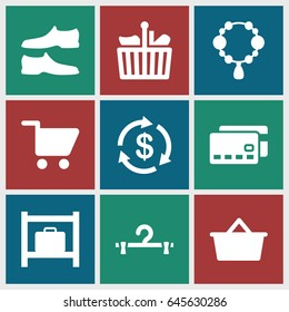 Store icons set. set of 9 store filled icons such as luggage storage, necklace, money, hanger, man shoe, shopping cart, shopping bag