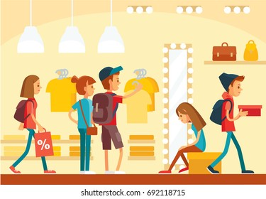 Store interior. People go for shopping