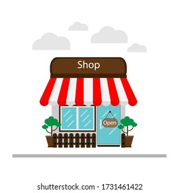 The store on white background Present or use as an illustration to sell products. Selling products online Or via Market Place