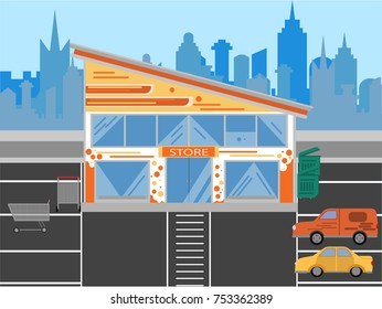 store and parking illustration, made in a flat design