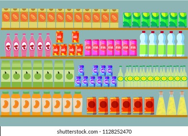 store shelf, vector illustration, flat style, products