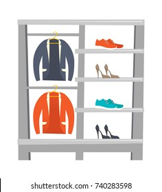 Store shelves with clothes and shoes vector cartoon illustration isolated on white background.