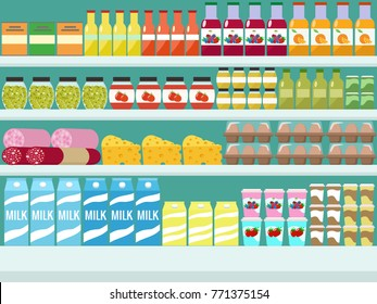 Store shelves with groceries, food and drinks. Vector flat illustration.