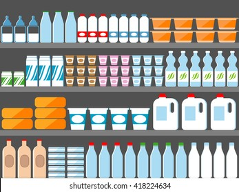 Store shelves with milk and dairy products in flat style. Market, dairy food supermarket, bottle retail. Vector illustration