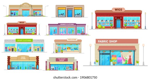 Store and shop buildings isolated vector icons. Cartoon shopping malls exterior front view with glass windows. Jewelry, wigs, sport clothing and fabric, shoes, uniform and hats retail shop buildings