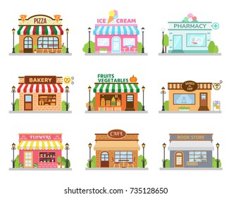 Store shop buildings set with pizza restaurant bakery cafe barber flowers ice cream. Flat vector set