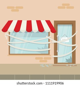 Store shop or cafe is bankrupt and closed. Locked door on a business that has gone bankrupt