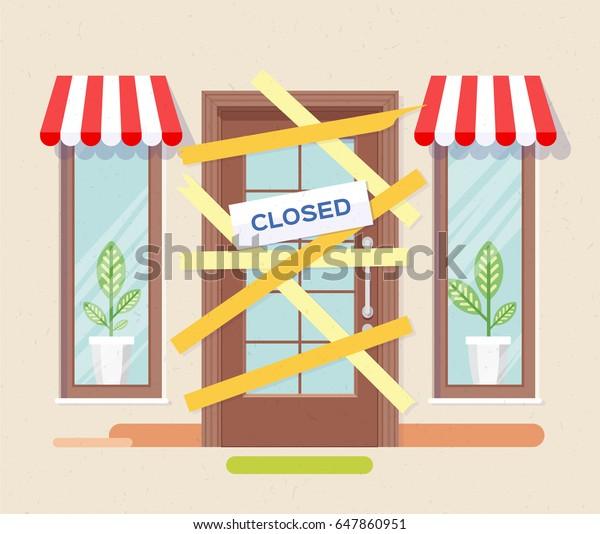 Geschäft oder Café ist bankrott und geschlossen. Ein Geschäft, das bankrott gegangen ist, hat die Tür versperrt. Vektorgrafik, Illustration, flach.
