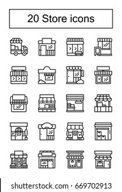 Store shop front line icon set isolated vector illustration. 20 store front icons set.